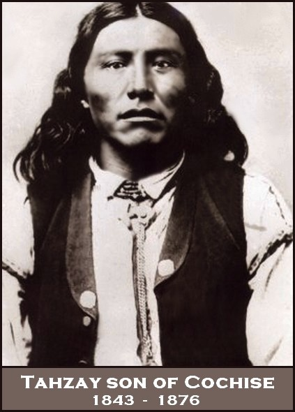 Although this photo is commonly believed to be Taza, it's Noche, a Chiricahua Apache.  Taza avoided the camera as Cochise did. As son of Cochise, and elder brother of Naiche, Taza became chief of the Chiricahuas when Cochise died in 1874.  As part of a delegation of Apaches to the white man's capitol, tragedy struck. Taza developed pneumonia and though given all available medical attention, he died within a few days. Taza  was buried in the Congressional Cemetery. B:1843, D:26-9-1876.