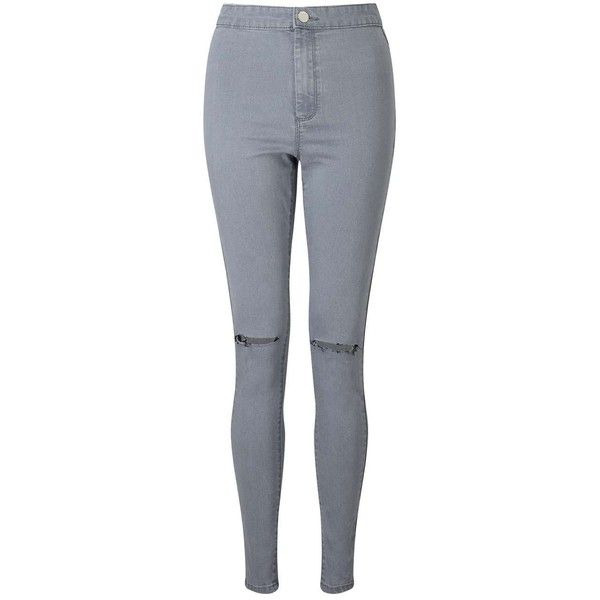 Miss Selfridge STEFFI Grey Knee Rip Jean (61 AUD) ❤ liked on Polyvore featuring jeans, pants, grey, torn skinny jeans, high waisted distressed jeans, destroyed skinny jeans, skinny jeans and skinny fit jeans
