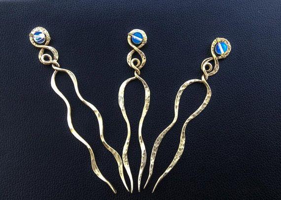 Moonstone Hair fork  Boho hair pin  Shawl pin  by AntimetryCrafts