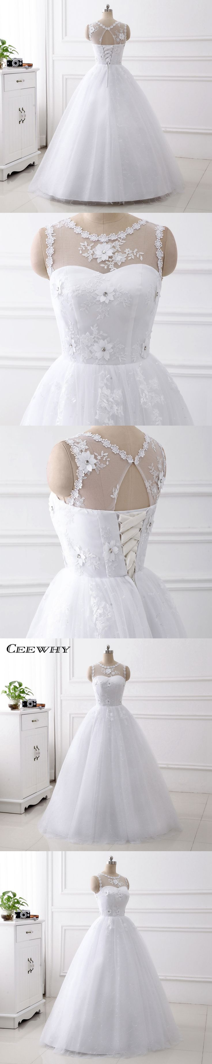 CEEWHY Sleeveless Illusion Collar Appliques Ball Gown Wedding Dresses Floor Length White Robe de Mariage Bride Dresses Crystal