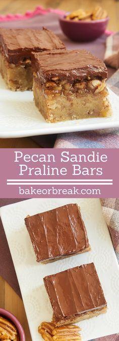 Pecan Sandies meet pecan pie in these fantastic Pecan Sandie Praline Bars! - Bake or Break