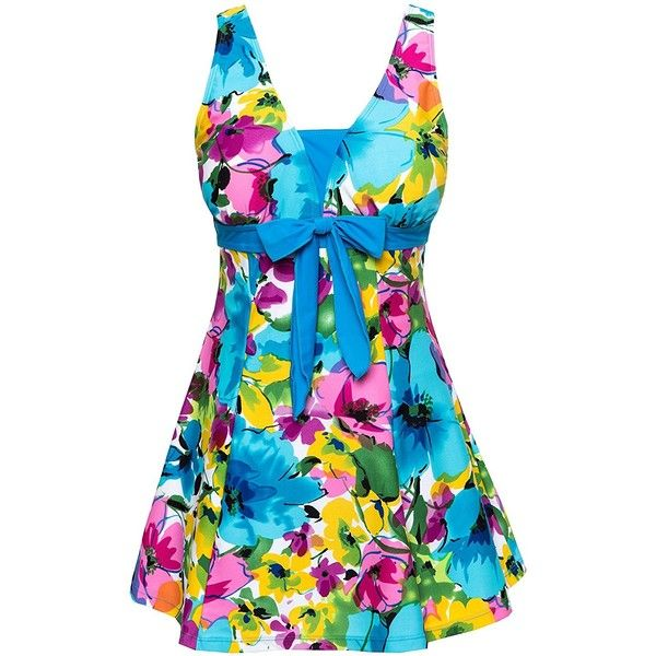 Wantdo Women's Floral Swimdress Modest Swimwear Slimming Push Up... ($20) ❤ liked on Polyvore featuring swimwear, one-piece swimsuits, 1 piece bathing suits, swim suits, slimming one piece swimsuits, floral one-piece bathing suits and push up one piece bathing suit