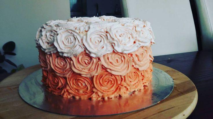 Ombre Rose Cake #ombre #rose #cake #rosecake #ombrecake #handmade #diy