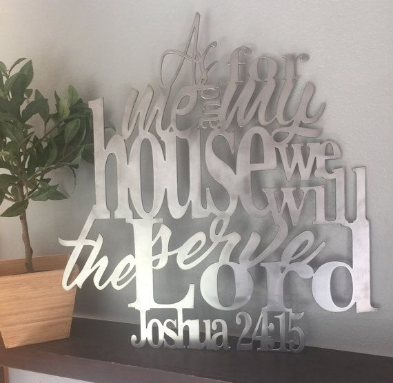 "8 Colors Available! Joshua 24:15 Metal Verse Sign Verse Scripture Decor ""As For Me and My House"""