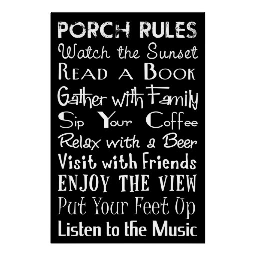 Porch Rules Poster, for the screen porch