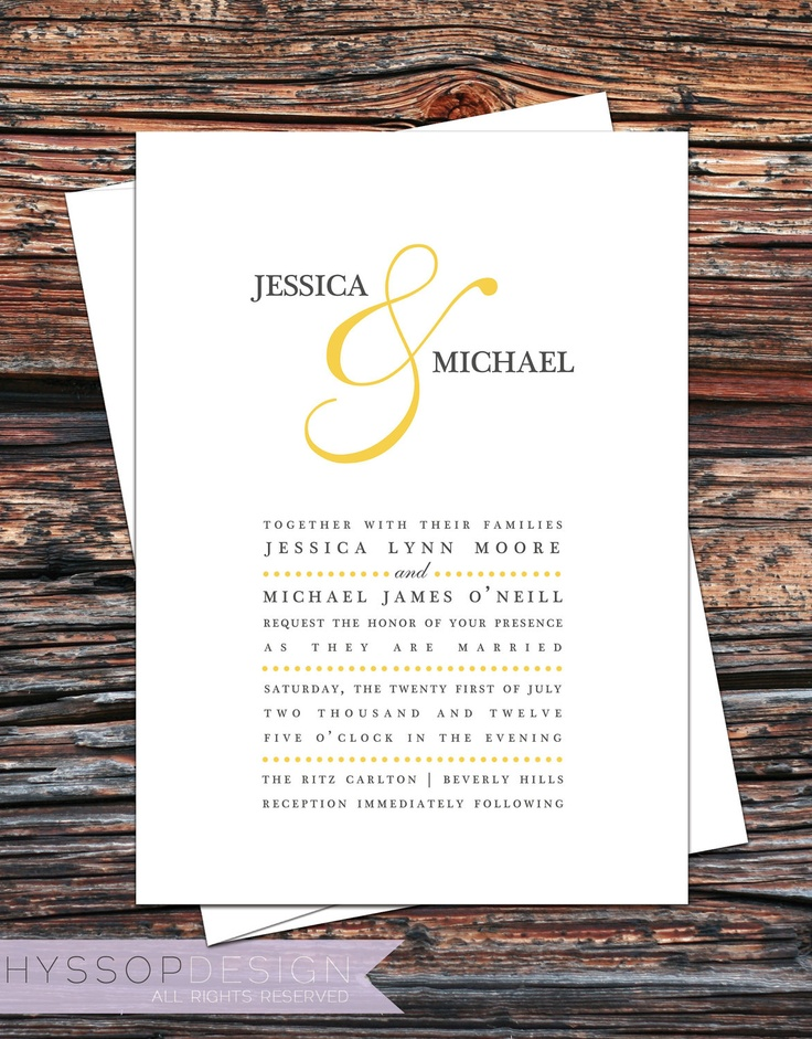 Printable/DIY - Color Ampersand (Mustard Yellow and Gray) Wedding Invitation  RSVP Set. $75.00, via Etsy.
