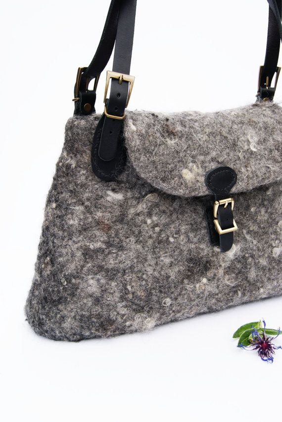 Grey Bag Grey Purse Boho Purse Wool Bag Felted by elenasfelting