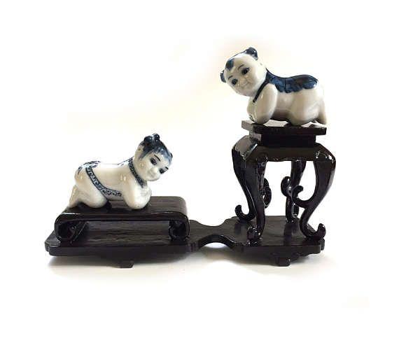 Pair Miniature Vintage Chinese Baby Porcelain Opium Den