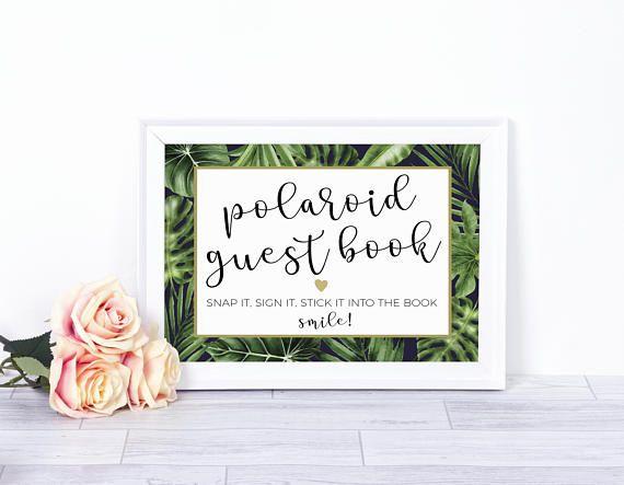 Polaroid guest book, Polaroid guestbook, photo guestbook sign, photo guest book sign, Wedding Polaroid, instax guest book, tropical wedding