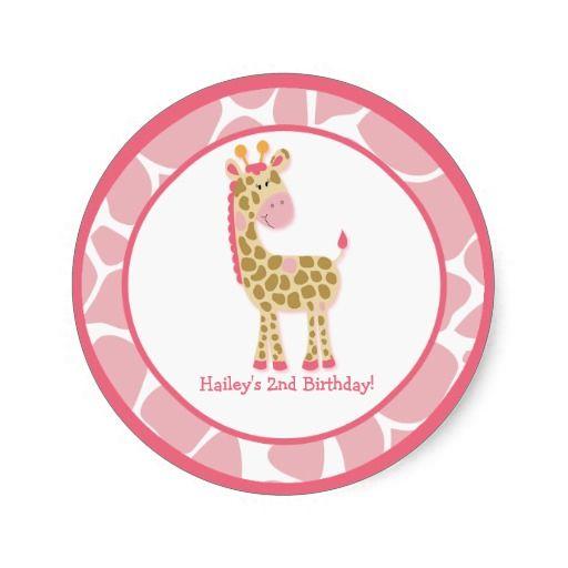 20 Customizable Cupcake Toppers Jungle Giraffe Round Sticker