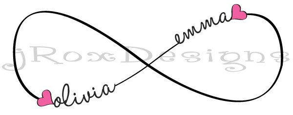 Custom Infinity Tattoo Design with Personalization by jRoxDesigns