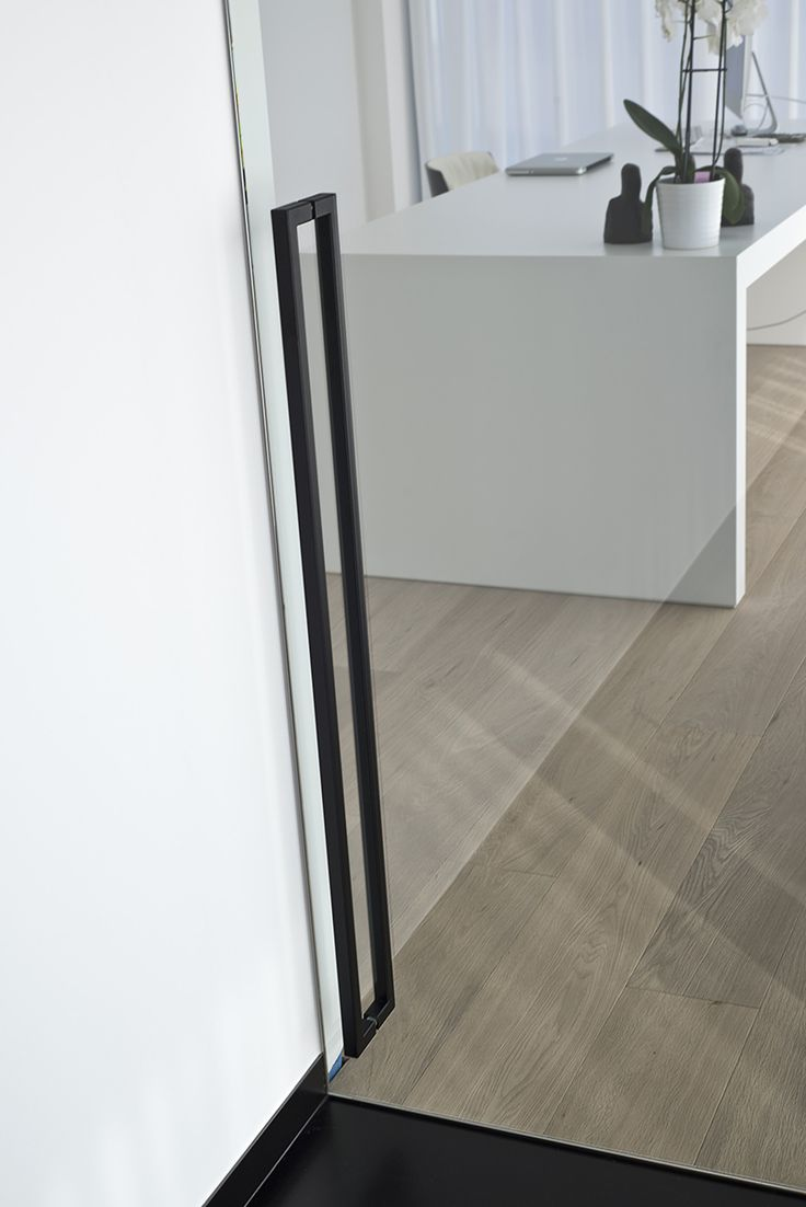 Plafondhoge pivoterende deur met zwarte handgreep