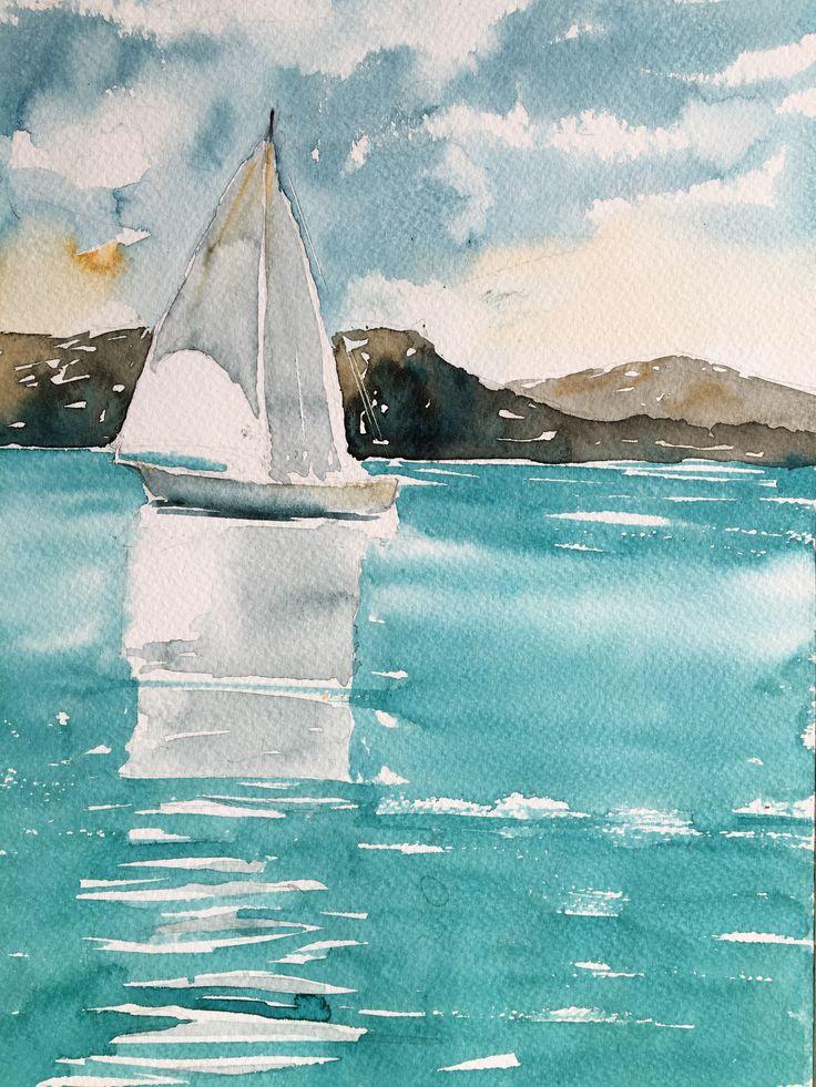 Sailing Ship. Watercolor