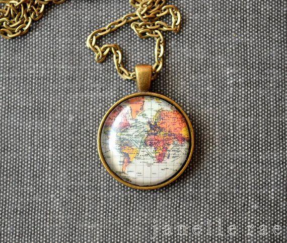 Globe Necklace Map Necklace Globe World Map by JanelleRaeJewelry $13.00.