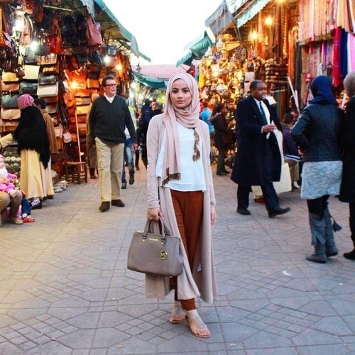 blush long cardigan maroon pants hijab- Hijab fashion and Muslim style http://www.justtrendygirls.com/hijab-fashion-and-muslim-style/