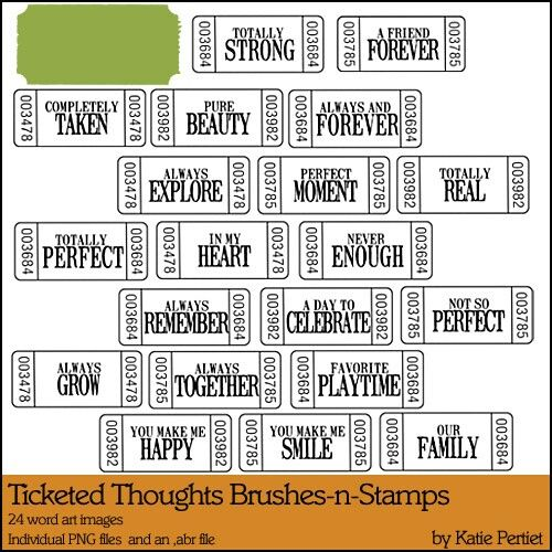 Ticketed Thoughts Brushes and Stamps MegaPak