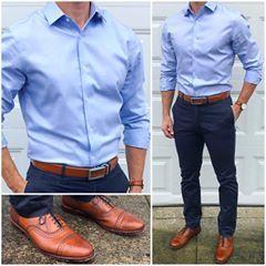 Monday Blues  How was your Monday❓Do you like today's outfit❓  Belt: @ansonbelt Pants: @grayers Shoes: @allenedmonds Watch: @danielwellington Shirt: @bananarepublicmens