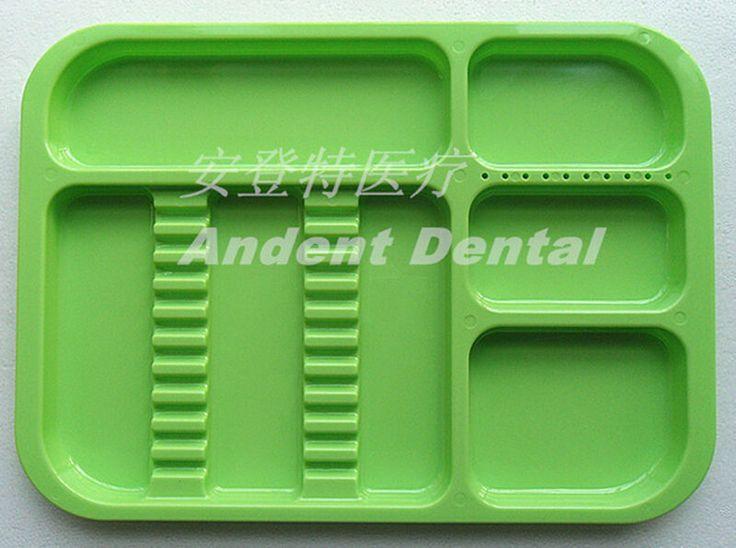 1Pc Dental Instrument Autoclavable Plastic Trays Flat Standard Dividede Green #Shaind2014