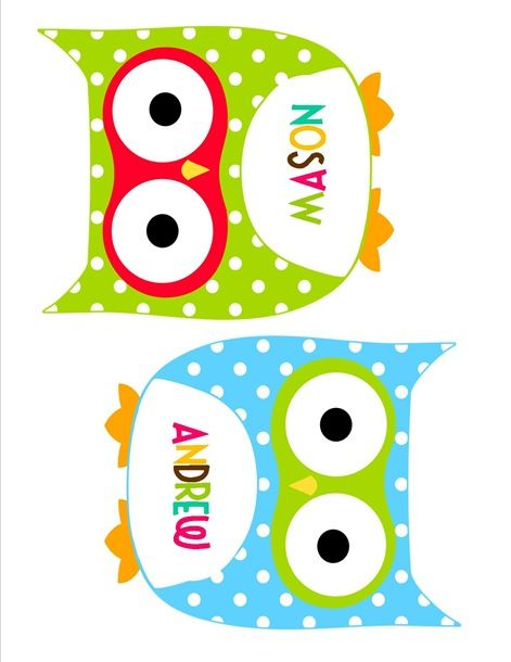 owl cutout name tags