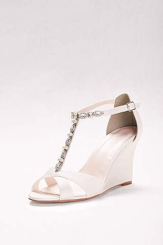 Choose This Walkable And Danceable Embellished Wedge On Your Wedding Day Feet With Thank You By David S Bridal Satin Upper Synthetic Sole 3