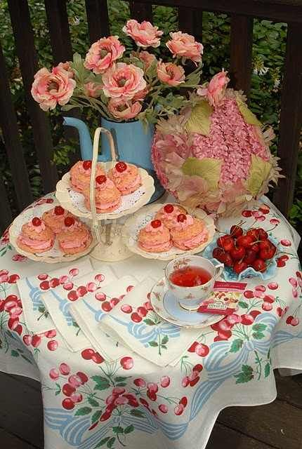 Cherry tea party....even the tablecloth!! So pretty.