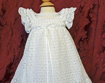 White Christening / Blessing Gown and Slip   by CherryHillCrochet