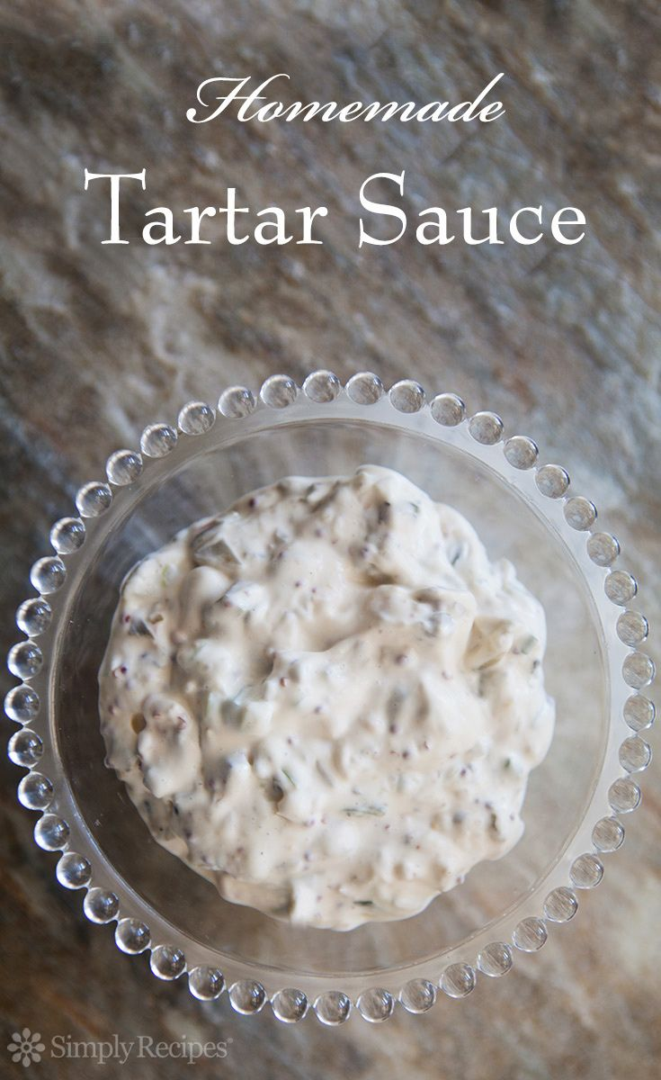 Homemade Tartar Sauce ~ Tartar sauce made with mayonnaise, dill pickles, capers, mustard, shallots, scallions, Tabasco and lemon juice. Perfect for serving with fish or crab cakes. ~ SimplyRecipes.com