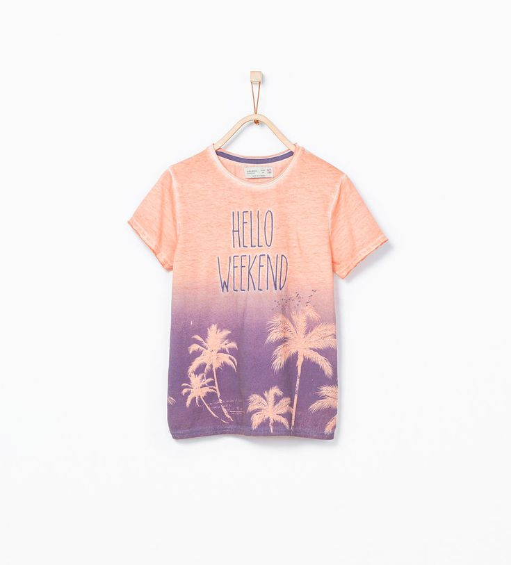 ZARA - NEW THIS WEEK - Palm tree t-shirt with Hello weekend text