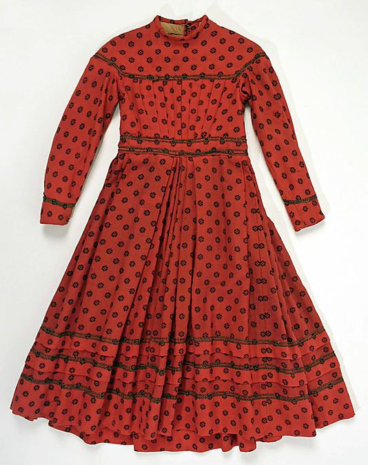 1865 girl's wool and cotton dress, American.