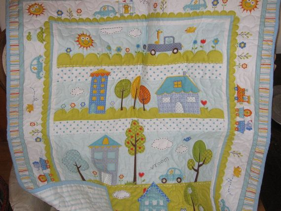 Baby boy quilt nursery blanket  Dena Happi quilt by quiltcountry, $95.00