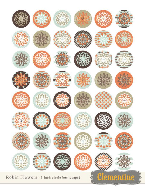 New to ClementineDigitals on Etsy: Flower bottle cap images bottlecap images one inch circles royalty-free digital collage sheet- Instant Download (3.00 USD)