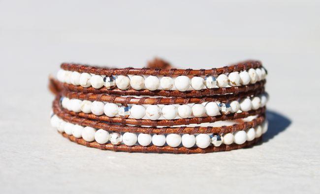 Da Costa Howlite Triple Wrap Bracelet