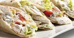 Recette de Wraps crémeux allégés au poulet et fromage blanc 0%. Facile et rapide à réaliser, goûteuse et diététique.