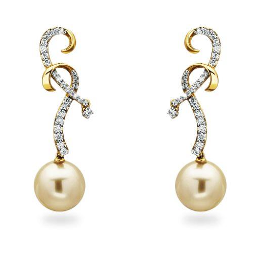 Rosendorff De La Mer Collection Champagne Pearl and Diamond Earrings
