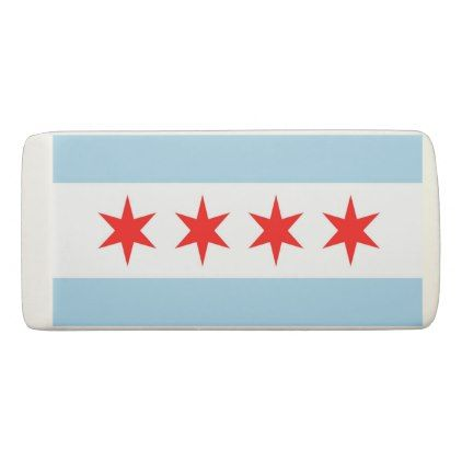 Patriotic Wedge Eraser with flag of Chicago - trendy gifts cool gift ideas customize