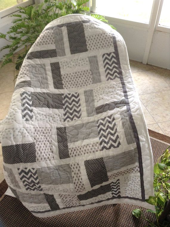 "RESERVED FOR MORGAN - Baby Crib Quilt - Grey/White -  41"" x 54"" - Ready to Ship"