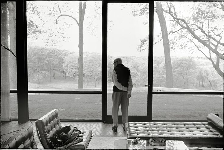 """Phillip Johnson, the Glass House, New Canaan, Connecticut,"" Annie Leibovitz"