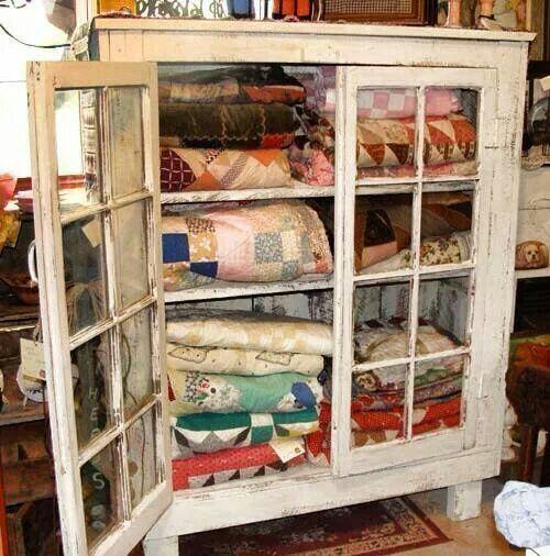 Primitive quilt cabinet