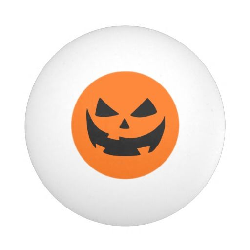 cartoon halloween pumpkin face orange ping pong ball - Halloween Ping Pong Balls