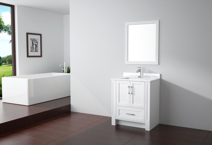 """Virta Flow Freestanding 30"""" Vanity in White. Boasting superb quality in a transitional style, the Flow vanity is changing the vanity industry with state of the art modular design which allows for vanity custom sizing to seamlessly fit any luxury bathroom. The Flow vanities are made of premium grade wood with a solid plinth base, elegant soft closing shaker style doors and drawers, and polished chrome hardware."""