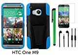 HTC One M9 (2015 HTC New Flagship Android Phone; US Carrier: Verizon Wireless, AT&T, Sprint, and T-Mobile) Phone Case - Premium Heavy Duty Dual Shield Hybrid Protector Case with KickStand + 3.5MM Stereo Earphones + Screen Protector Film + 1 of New Metal Stylus Touch Screen Pen (BLUE)