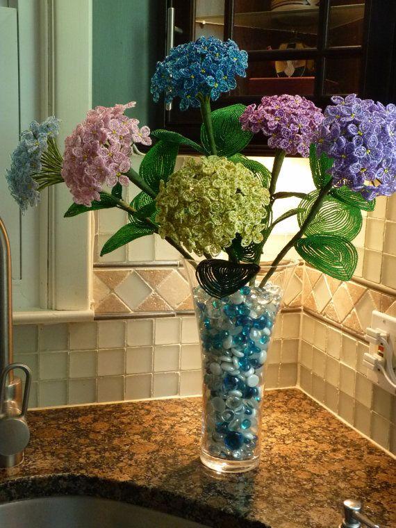 hydrangeas beaded flower arrangement bead flowers