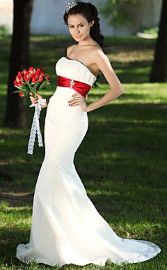 Trumpet/Mermaid Sweetheart Court Train Satin Draped Wedding ... – USD $ 148.49