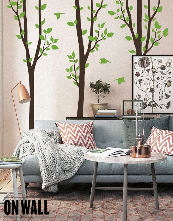 Nature Large Tree Vinyl Wall decals with Birds, set of 3 Tree murals, Vinyl Wall Decal , Wall decor – K023