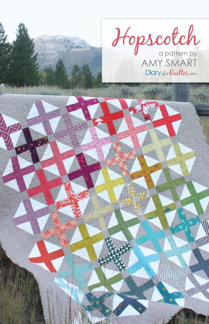 Hopscotch - modern quilt pattern PDF. Pre-cuts friendly (jelly-roll) quilt pattern.