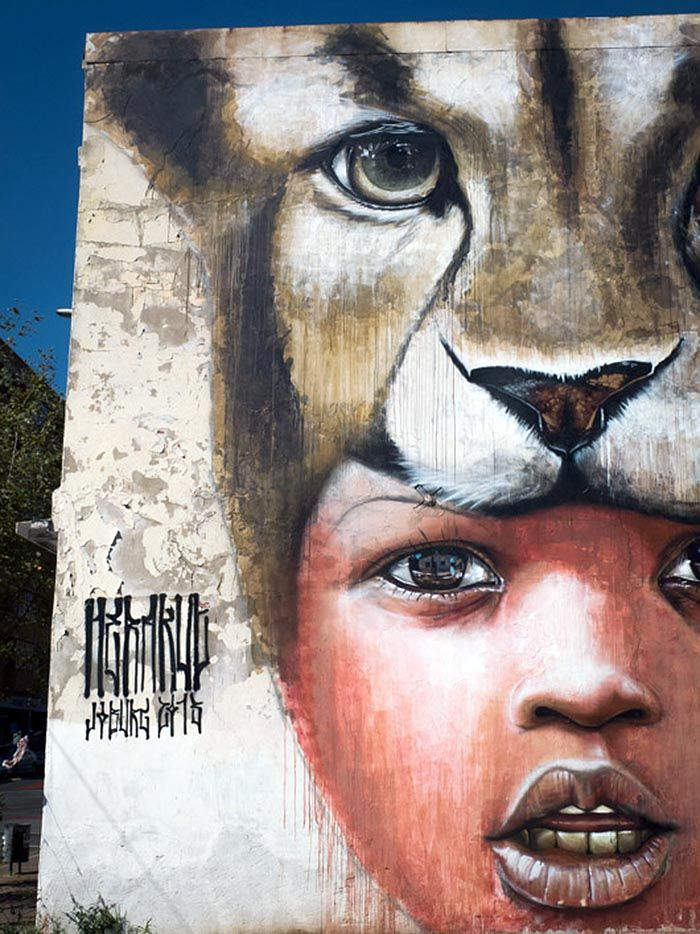 """Herakut New Mural In Johannesburg, South Africa """"You can't catch me so just let me be"""""""