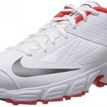 Nike Men's Potential White and Red Cricket Shoes - 8 UK
