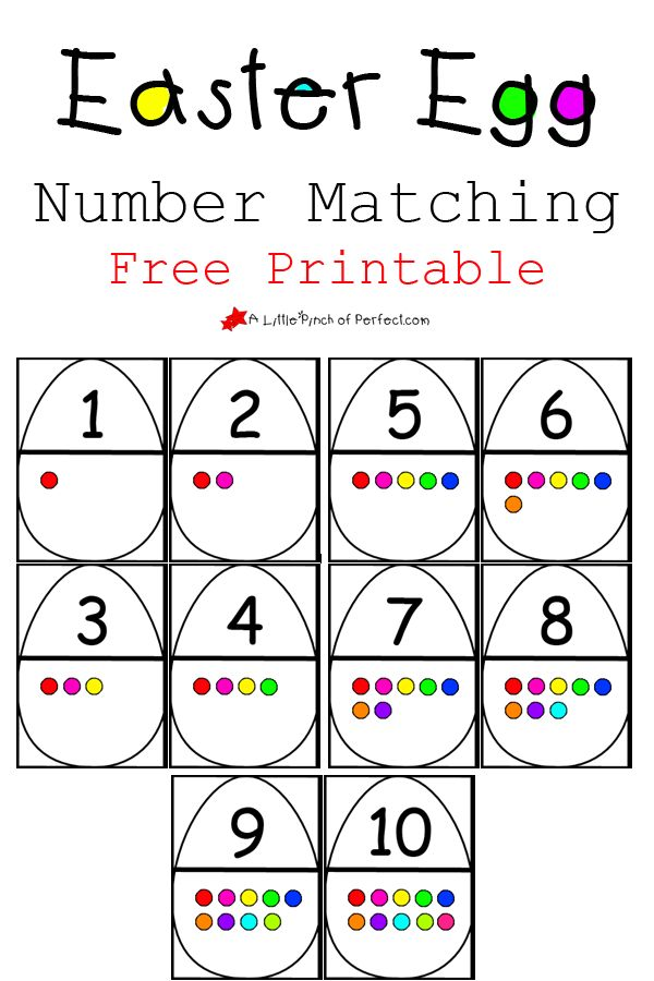 Easter Egg Number Matching Free Printable