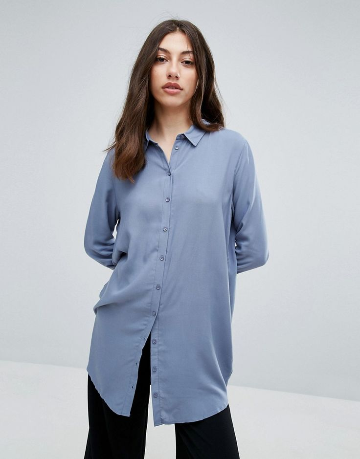 Pieces Long Oversized Shirt - Blue: Shirt by Pieces, Woven fabric, Spread  point collar, Button placket, Long sleeves, Longline cut, ...