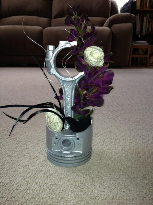 Car parts centerpiece party theme car pinterest for Auto decoration parts